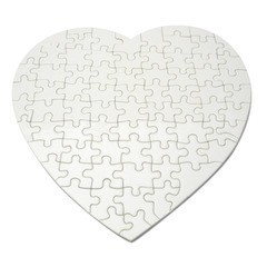 Rompecabezas de papel forma de corazón, para impresión full color