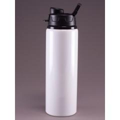 Botella deportiva blanca con tapa negra, para personalizar con logo o información de tu empresa