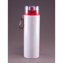 Botella de deporte blanca, tapa roja,artículos promocionales