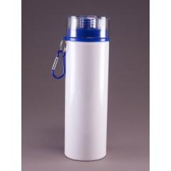 Botella de deporte blanca, tapa azul, para impresión full color
