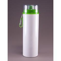 Botella de deporte blanca con tapa verde, promocionables con impresion full color