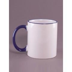 Taza con bordes y agarre azul, personalizables con impresión full color