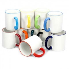 Tazas con bordes y mango purpura, personalizados full color