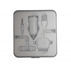 4 en 1- caja plástica clear con audífono, cargador de carro y adaptador múltiple