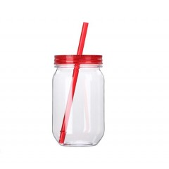 Mason jar botella plastica de 25 oz con carrizo y tapa de color