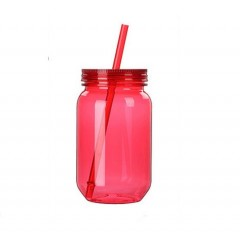 Mason jar botella plastica de 25 oz cuerpo de color con carrizo y tapa de color