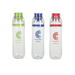 Botella plastica de 22 oz color clear con tapa rosca y detalle de color y banda superior