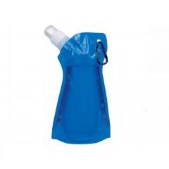 Botella de agua colapsable con tapa enroscable de boton y clip para guindar