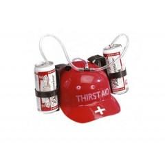Casco porta latas para dos latas, con carrizo