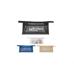 Cosmetiquera plastica de pvc con mallita, cierre zipper