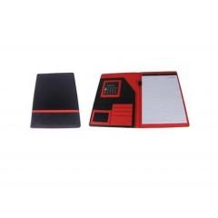 Padfolio de cuerina y nylon con franja de color, adentro en color con calculadora