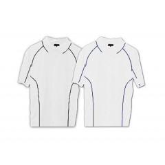 Polo dry fit blanco con lineas de detalle en otro color