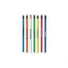 Lapiz de madera de color, con ferula y borrador del mismo color