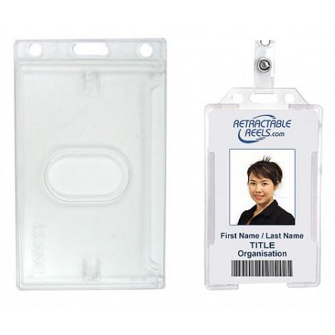 Porta identificacion plastico rigido, horizontal y vertical.