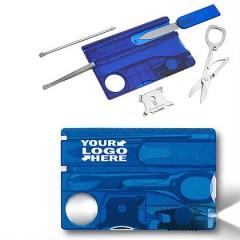 Multi herramienta con luz en modelo tarjeta de credito traslucido