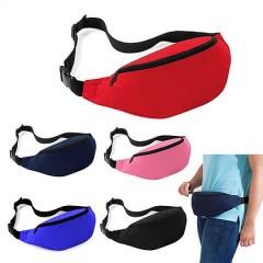 Cangurera de nylon resisteste, con correa ajustable, dos zipper, amplia area de impresion
