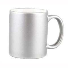 Taza de ceramica de 11 oz. plateada metalica para sublimacion, parte interna blanca