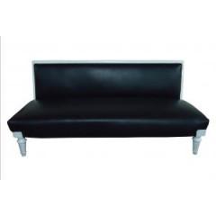 Sofá de Cuero Negro y Madera Blanca