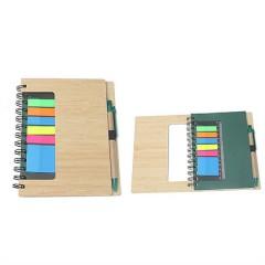 Cuaderno espiral con caratula de bambu, banderitas adhesivas, pluma reciclada en juego