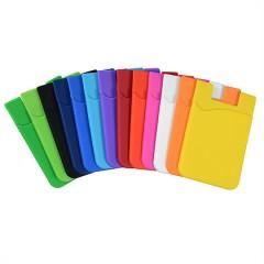 Porta tarjetas de identificacion, en silicon, adhesivo, para el celular