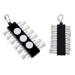 Porta tees de golf, plastico. cuerpo negro, 3 marcadores redondos blancos y 12 tees plasticos  blancos