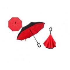 Paraguas invertible, de dos colores, se sostiene parado. parte interna de color